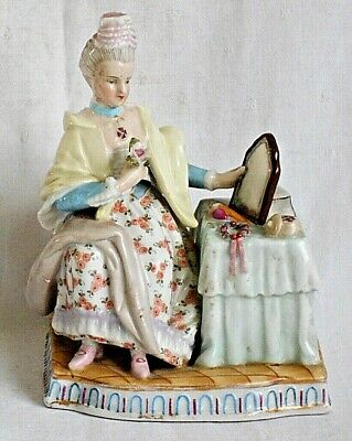 Late C19Th Helena Wolfsohn Dresden Hand Painted Figure Lady At Dressing Table