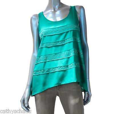 8f95275ede1a95 Rock   Republic Striped Silver Metal Stud Sparkle Tank Top Emerald Blue  Green