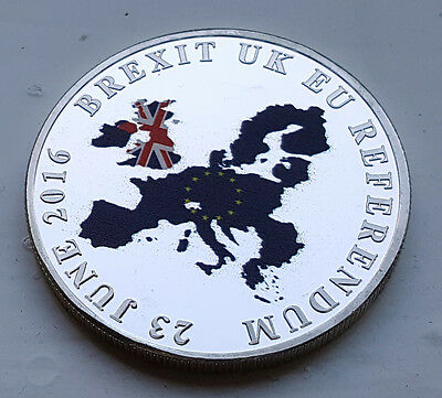 Brexit Silver Coin Medal European Union Nigel Farage Donald Trump Supported Exit