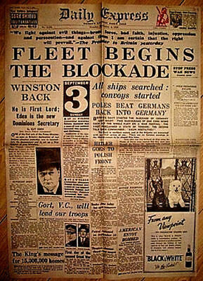 1939 Newspaper Declaration of World War II Daily Mirror Vintage Old London Retro