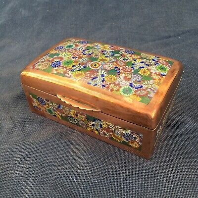 Beautiful copper cloisonne trinket box
