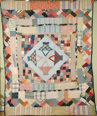 FOLKY Vintage 20's Baskets Medallion Boston Commons Antique Quilt ~NICE BORDERS!