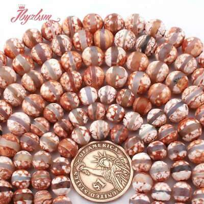 Round Tibetan Dzi Agate Brown Faceted Stripe Stone Beads for Jewelry Making 15""