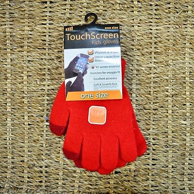 Kids Boys Girls Red Soft Knit Touch Screen Phone  Magic Gloves