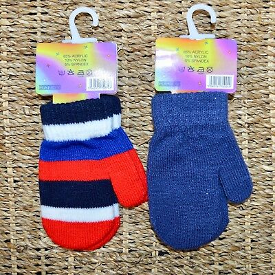 2x Baby Mittens Soft Knitted Blue & Red Striped Magic Gloves Age 3 - 12 Months