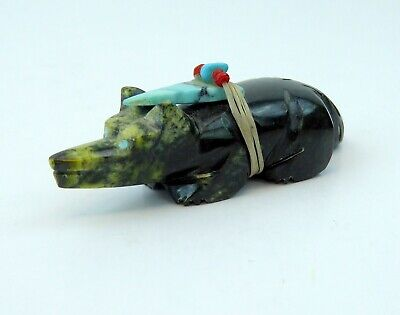 Zuni Serpentine Wolf by Emery Eriacho w/Spirit Bundle Offering Turquoise Carving