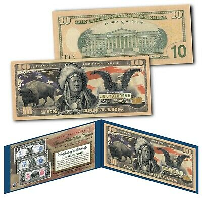 Americana Images of Historical U.S. Currency Genuine Legal Tender $10 Bill BISON
