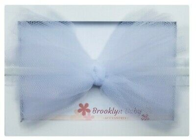 Baby Toddler Girls Big Tulle Bow White Headband, Headbands for Babies, Newbowns