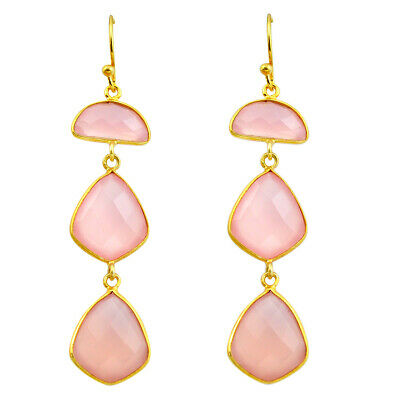 Natural Pink Chalcedony 925 Silver 14k Gold Dangle Earrings M76985