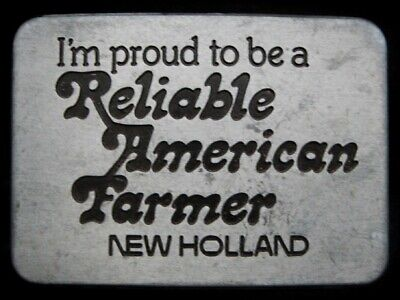 Mg17113 Vintage 1982 **I'm Proud To Be A Reliable American Farmer** Belt Buckle