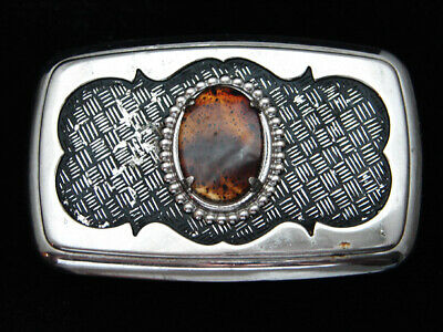 PH11164 VINTAGE 1970s **TIGER EYE STONE** WESTERN & COWBOY DESIGN BELT BUCKLE
