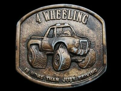 MH31111 VINTAGE 1970s **4 WHEELING IS MORE THAN JUST DRIVING** BELT BUCKLE