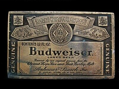 MJ01122 VINTAGE 1970s **GENUINE BUDWEISER LAGER BEER** BELT BUCKLE