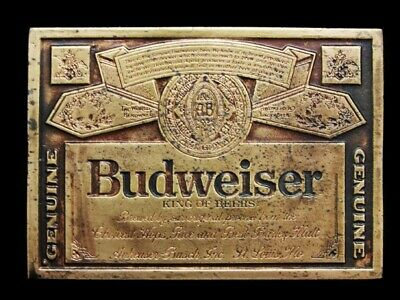 MJ01123 VINTAGE 1970s **GENUINE BUDWEISER KING OF BEERS** BELT BUCKLE