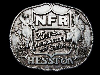 MG21128 VINTAGE 1983 **NFR** HESSTON NATIONAL FINALS RODEO 25th ANNIV. BUCKLE