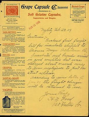 1909 NYC & Allentown PA GRAPE CAPSULE Co Letterhead Gelatin Capsules