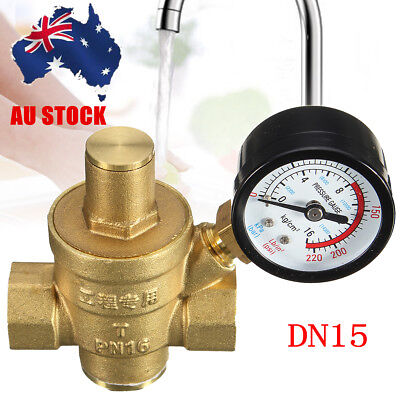 "AU DN15 1/2"" Brass Water Pressure Reducing Regulator Valve Reducer +Gauge"