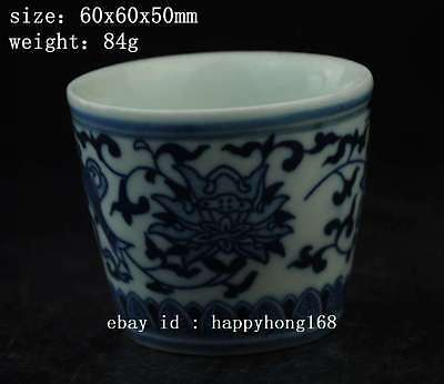 chinese old Blue and White porcelain Hand painted flower fish pattern cup a02