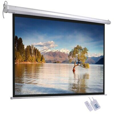 "100"" Inch Electric Motorised Projector Screen 4:3 Projection Retractable Remote"