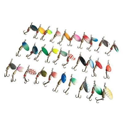 Lot 30pcs Assorted Fishing Lures Baits Metal Spinner Crankbait Hooks Bass Tackle