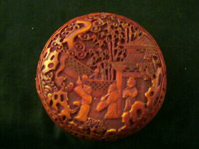 Special Chinese Hand Carved *Figures* Circle Box G088