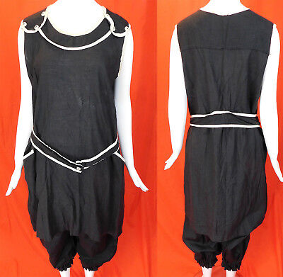 Vintage Edwardian Bathing Beauty Swimsuit Black Cotton Belted Dress & Bloomers