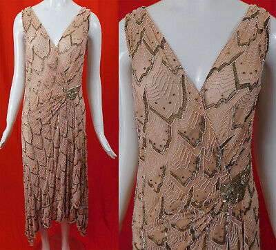Vintage Art Deco Asymmetrical Pink Silk Silver Embroidered Beaded Flapper Dress