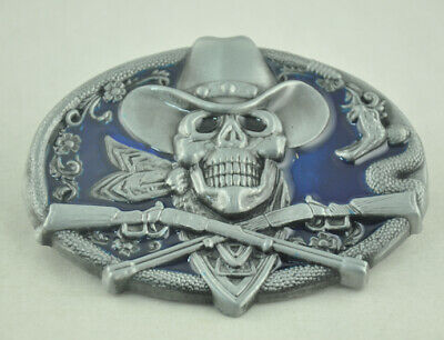 New Men's Belt Buckle Western Cowboy Blue Oval Skeleton Ghost Rifle Snake Metal