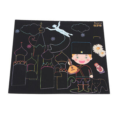 DIY Painting Scratch Scraping Drawing Paper Egypt Boy Girl Picture Creative LG