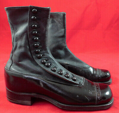 Unworn Edwardian Children Youth Black Gray Two Tone Leather High Top Button Boot
