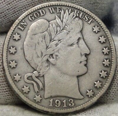 1913D Barber Half Dollar 50 Cents - Key Date 534,000 Minted, Free Shipping(7144)