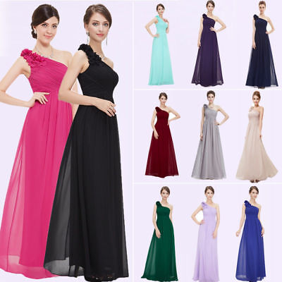 Ever-Pretty Long Chiffon Bridesmaid Dress One Shoulder Party Evening Gown 08237