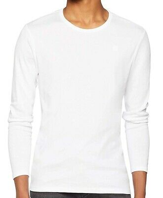 G-Star Raw NEW White Mens Small S Base Round Neck Long Sleeve Tee Shirt $35 #128