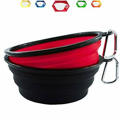 Himi 34OZ Silicone Collapsible Travel Dog Bowl - Set of 2 Large 1000ML Bowl -...