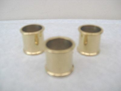 3   BEADED BRASS COLLARS SIZES 21 mm 22 mm & 23 mm FOR WALKING STICK MAKING