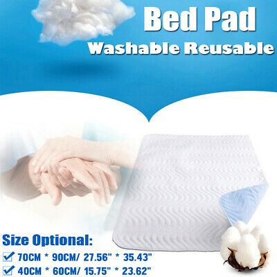 70cm x 90cm Reusable Bed Pad with tuck ins Machine Washable Teal White Protector