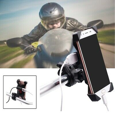 Universal Motorcycle Mobile Phone Holder Motorbike Clamp X Mount USB Charger