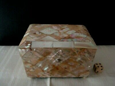 Antique Mother Of Pearl Box  For Tea Or Carte  11,5 X 7,6 X 8,5 Cm