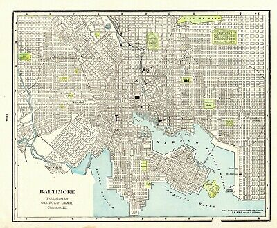 1896 Antique BALTIMORE City Map of Baltimore Maryland Gallery Wall Art 6368
