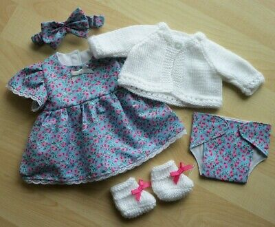 My First Baby Annabell/14 inch baby doll 5 Piece Blue Floral Dress Set (6)