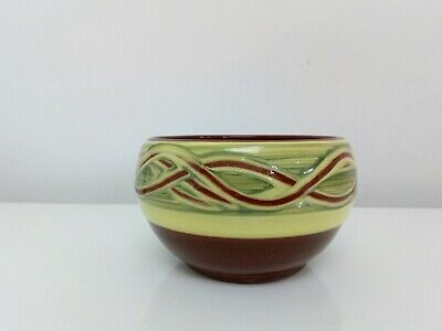 Holkham Studio Pottery Bowl : Brown & Yellow Norfolk England Signed Hand Made