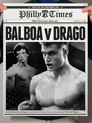 Rocky 4 Balboa Ivan Drago IV Russia Philly Newspaper Poster Print
