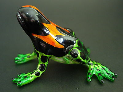 Glass FROG Colourfully Painted Shiny Curio Glass Figure Ornament Glass Animal