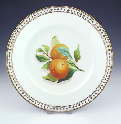 Antique English Porcelain - Hand Painted Orange Decorated Gilded Plate - Lovely!