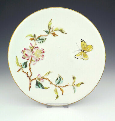 Antique Bodley Pottery Flower & Insect Aesthetic Movement Plate - Nice!