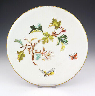 Antique Bodley Pottery Flower & Butterfly Aesthetic Movement Plate - Nice!