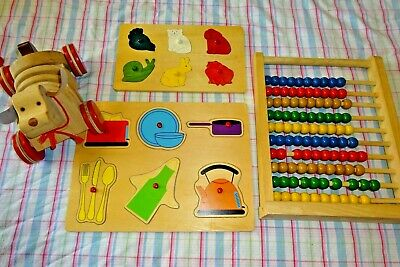 Educational Wooden Toddler Toy Puzzle Bundle Lot Large Abacus Pull Along Dog