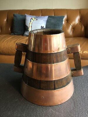 Antique French Coopered Wooden Wine Pitcher Bucket Copper Banded Vintage French