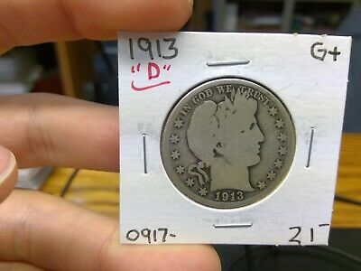 1913-D G VG ++ Condition Barber Silver Half Dollar 50C 90% Silver Tough Date