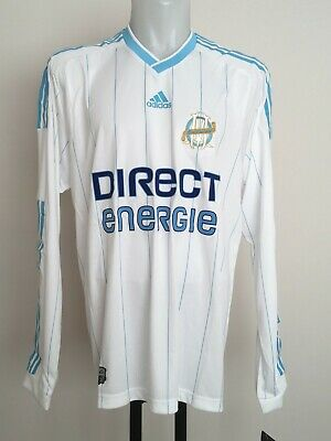 Olympic Marseille L/s Player Issue 2009-10 Home Shirt By Adidas Size Men's Xl